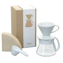 Hario V60 White Ceramic Dripper Pot Set 01 in White (All in One V60 set-up Ideal Gift Kit)